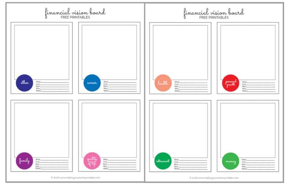 screenshot of free printable finance vision board for kids