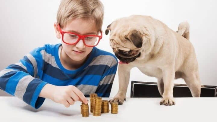 boy kid in red glasses counting money he's saving for short term kid goal