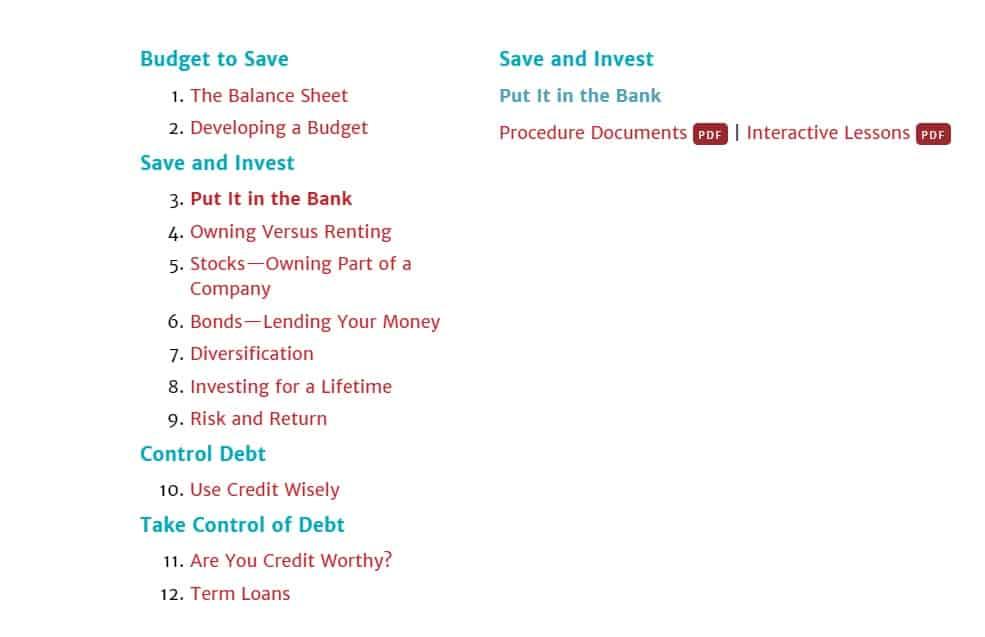 screenshot of Put it in the Bank curriculum with free lessons and PDFs