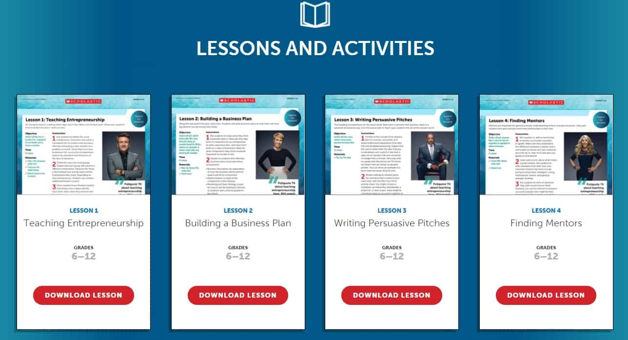 screenshot of scholastic shark tank lesson plans for high school students