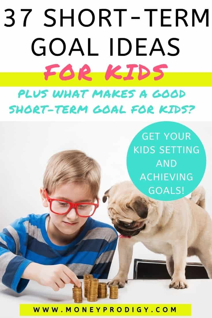 "young boy with red glasses with dog and counting his money, text overlay ""37 short term goal ideas for kids"""