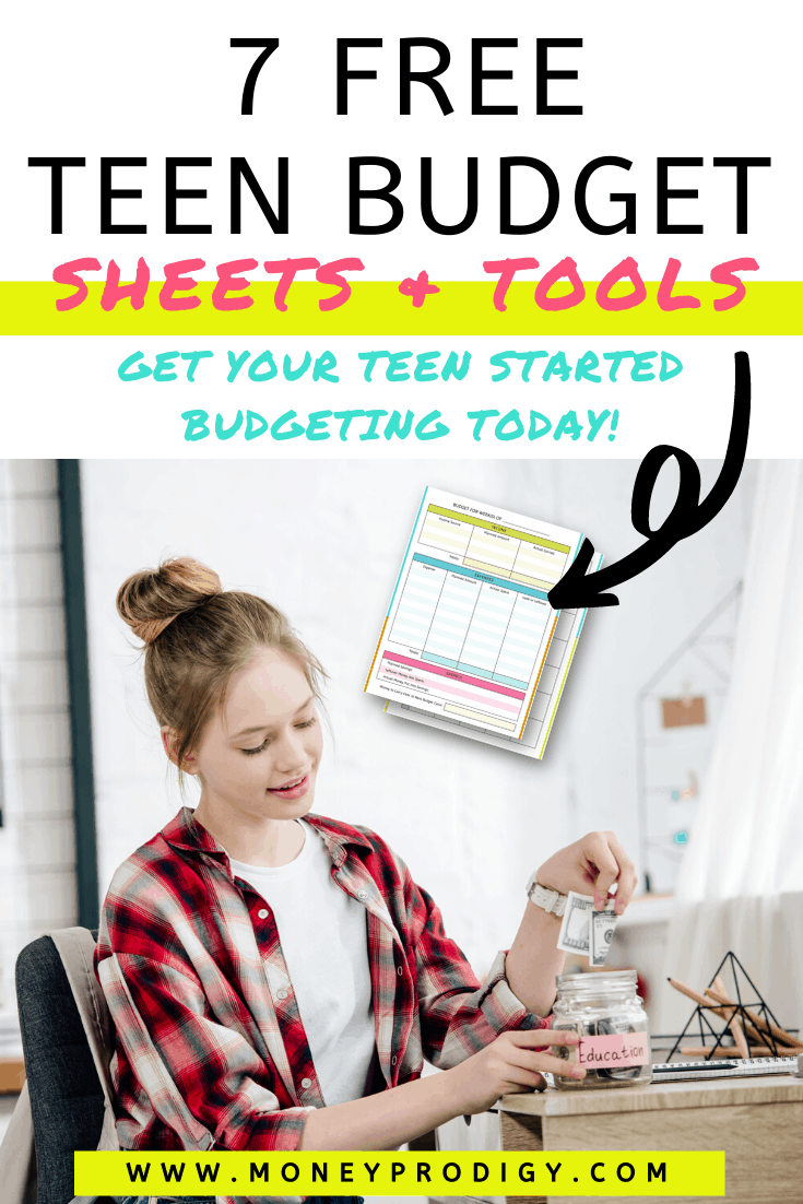 "teen girl putting money into jar, smiling, text overlay ""7 free teen budget worksheets and tools"""