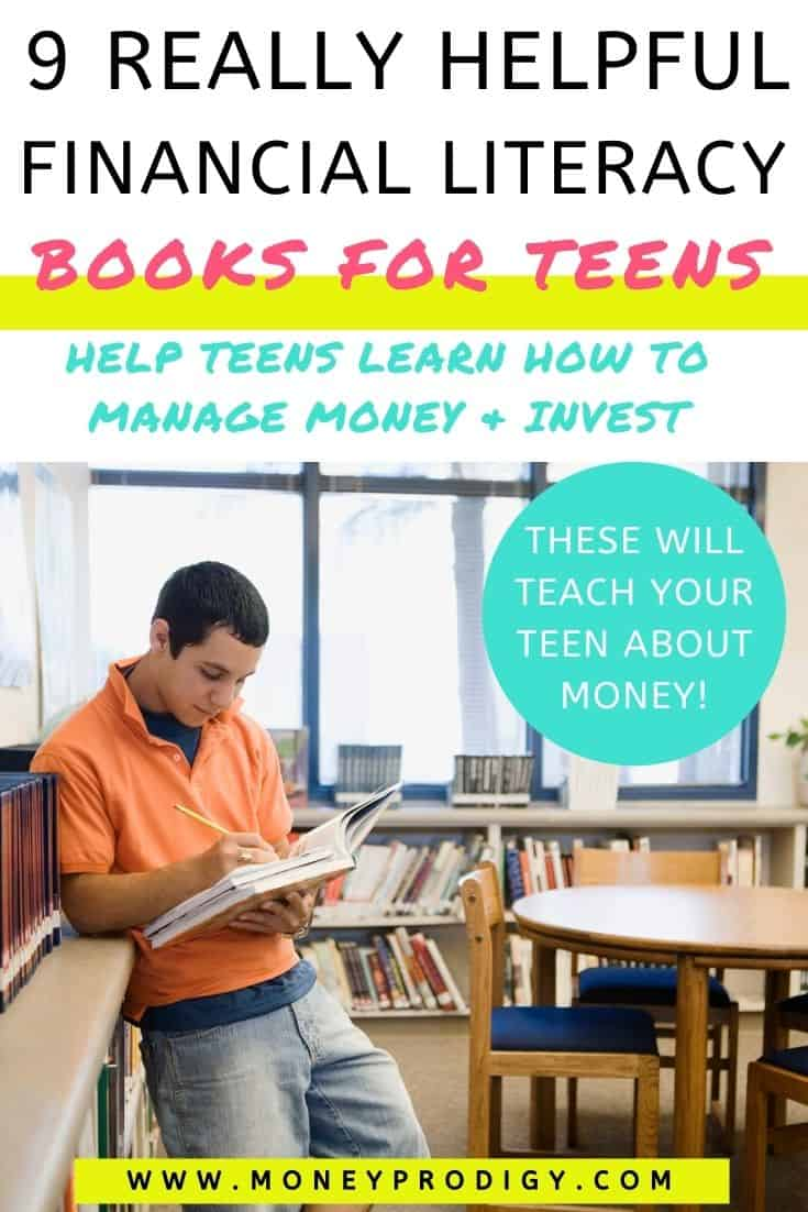 """boy teen working in a book, leaning against bookshelf, text overlay """"9 really helpful financial literacy books for teens"""""""