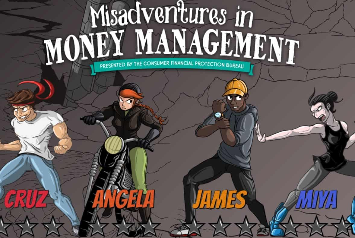dark screen with four graphic novel characters on it, misadventures in money management