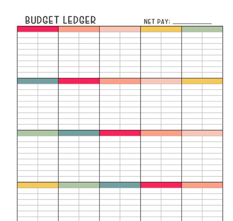 colorful budget ledger budget worksheet with an area at the top for net pay, and blank everywhere else