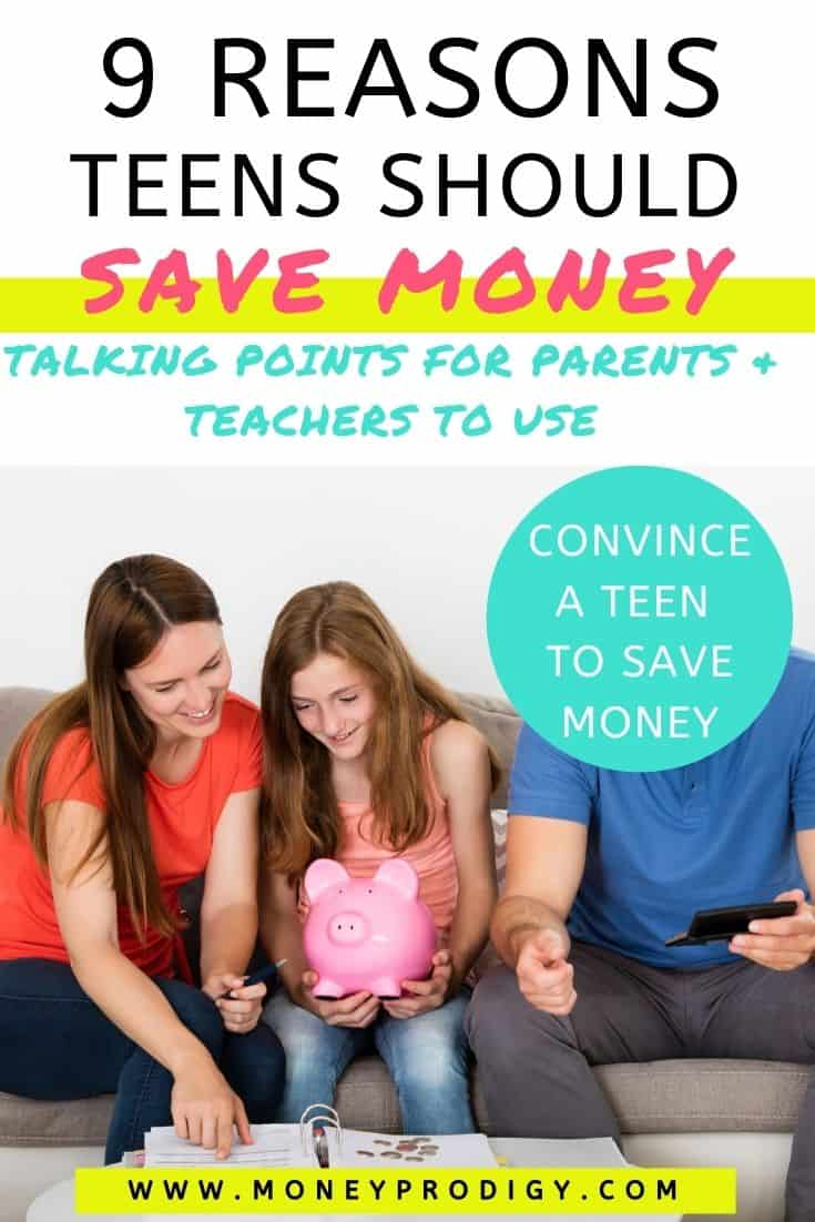 "teen girl with parents on couch and big piggy bank, text overlay ""9 reasons teens should save money - parent talking points"""