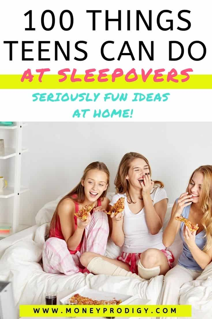 "three teen girls laughing on bed at sleepover, text overlay ""100 things teens can do at sleepovers"""