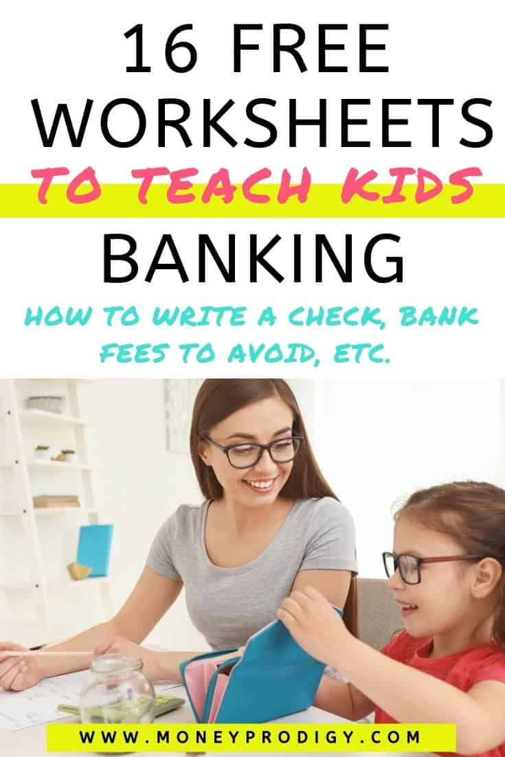 "mother smiling at child who is putting money into a wallet, text overlay ""16 free worksheets to teach kids banking"""