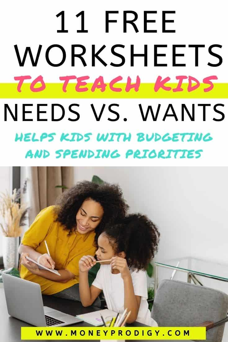 """Mom with daughter at desk working on worksheet and smiling, text overlay """"11 free worksheets to teach kids needs vs wants"""""""