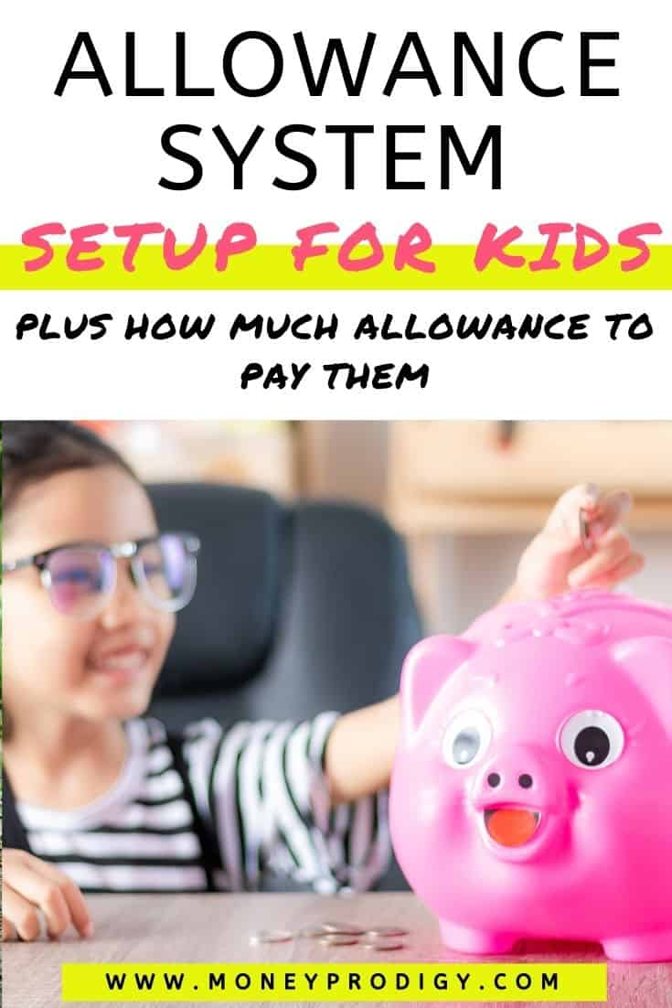 """girl child putting money into piggy bank, text overlay """"allowance system setup for kids plus how much allowance for kids to pay"""""""