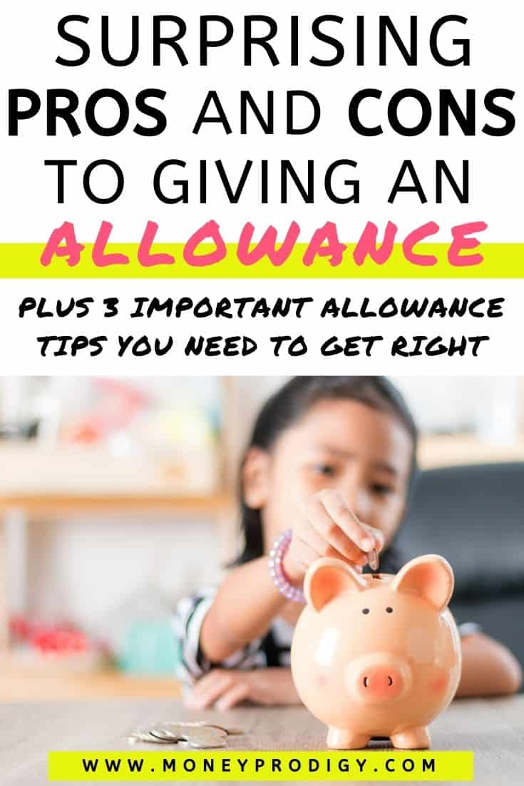 """girl child putting money into orange piggy bank, text overlay """"surprising pros and cons to giving an allowance"""""""