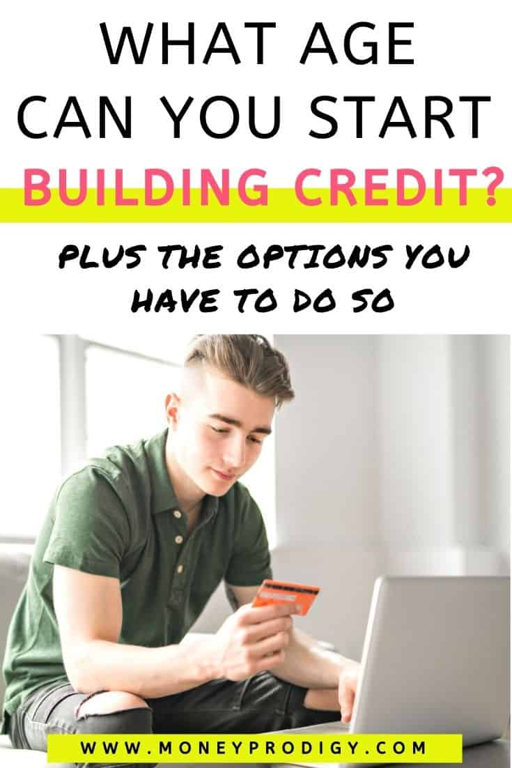 """teen boy with orange credit card at laptop, text overlay """"what age can you start building credit? plus the options you have to do so"""""""