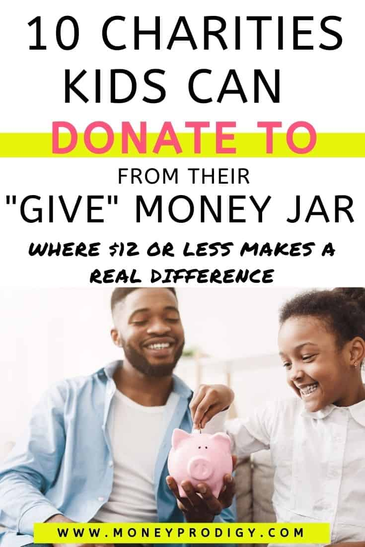 """father and daughter putting money into piggy bank smiling, text overlay """"10 charities kids can donate to from their Give Money Jar"""""""