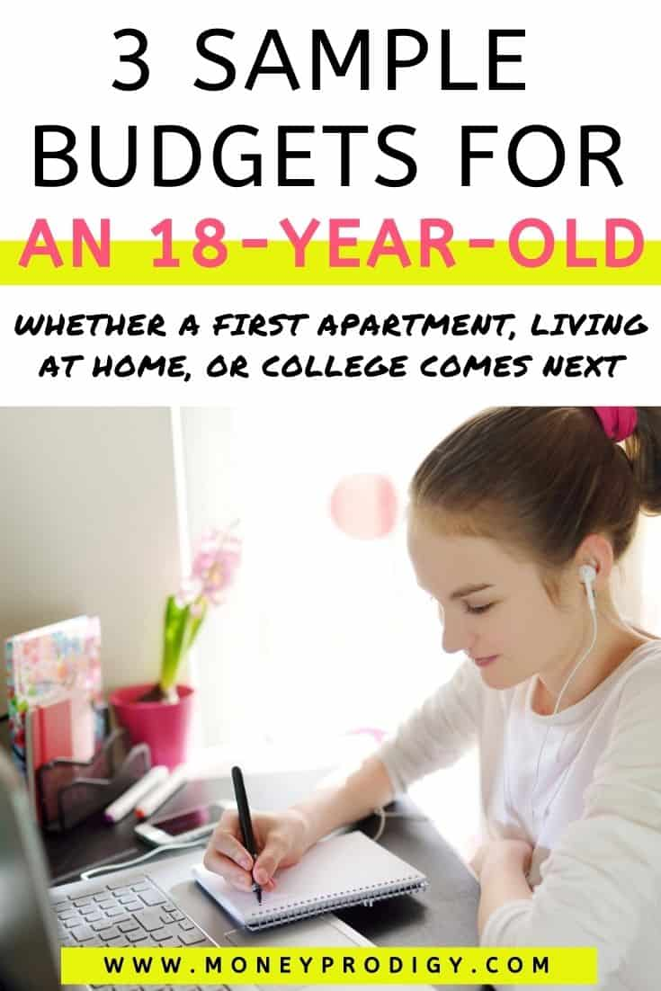 """18 year old girl at desk with headphones on and budgeting, text overlay """"3 sample budgets for an 18-year-old"""""""