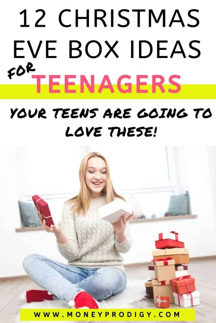 """teen girl opening up Christmas Eve box and smiling, text overlay """"12 Christmas eve box ideas for teenagers"""""""