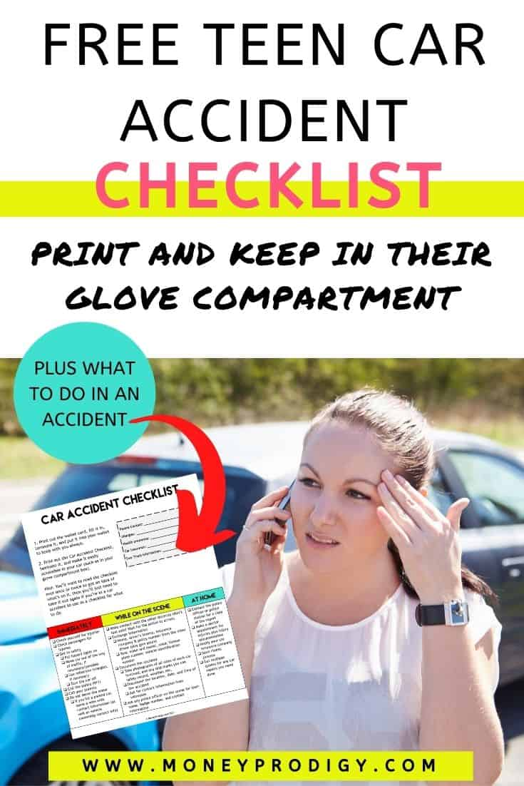 """teen girl on phone after first car accident, text overlay """"free teen car accident checklist print to keep in their glove compartment"""""""