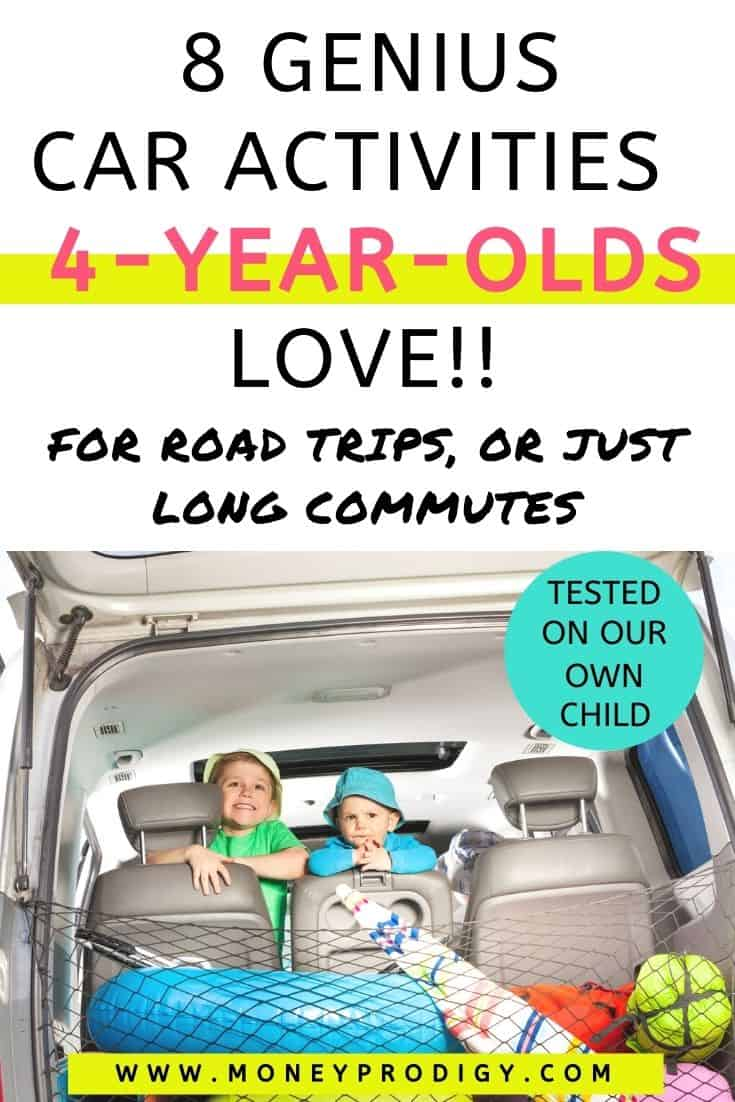 """a 4-year-old and older brother looking out trunk of car, text overlay """"8 genius car activities 4-year-olds love!!"""""""