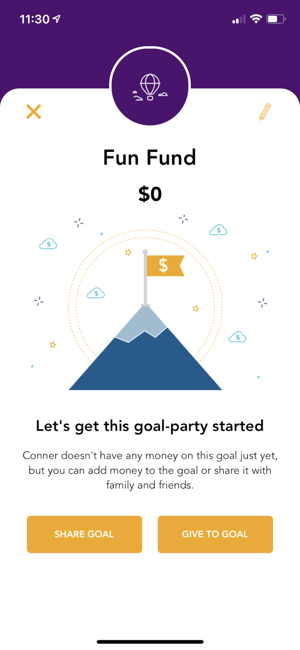 savings goal screen with mountain summer icon in background
