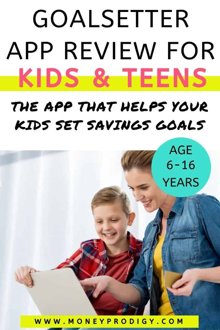 """mom with tween boy making online purchase with prepaid debit card, text overlay """"goalsetter app review for kids and teens"""""""