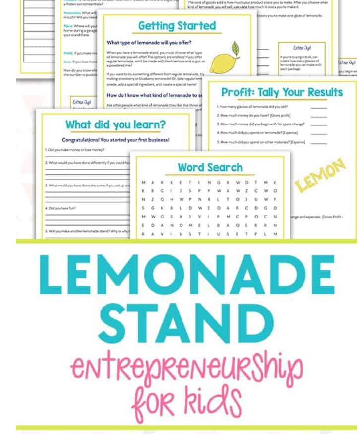 set of yellow and blue-teal lemonade stand business printables