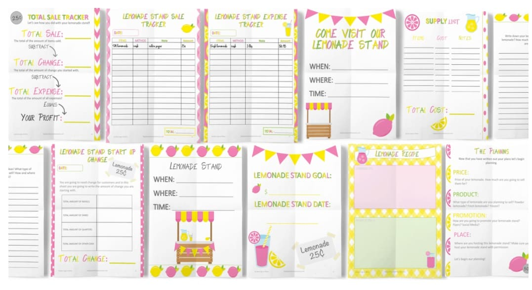 yellow, light pink, and green set of lemonade stand worksheets
