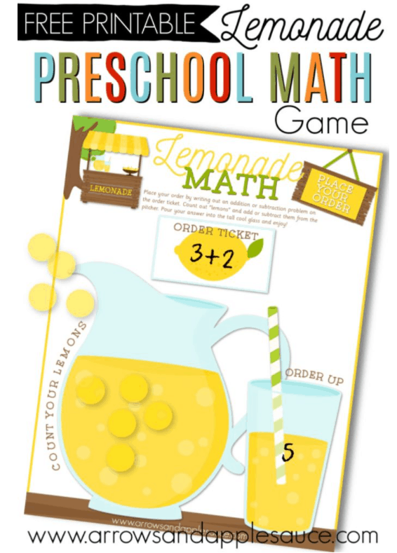 bright yellow lemonade pitcher and glass on lemonade stand game printables