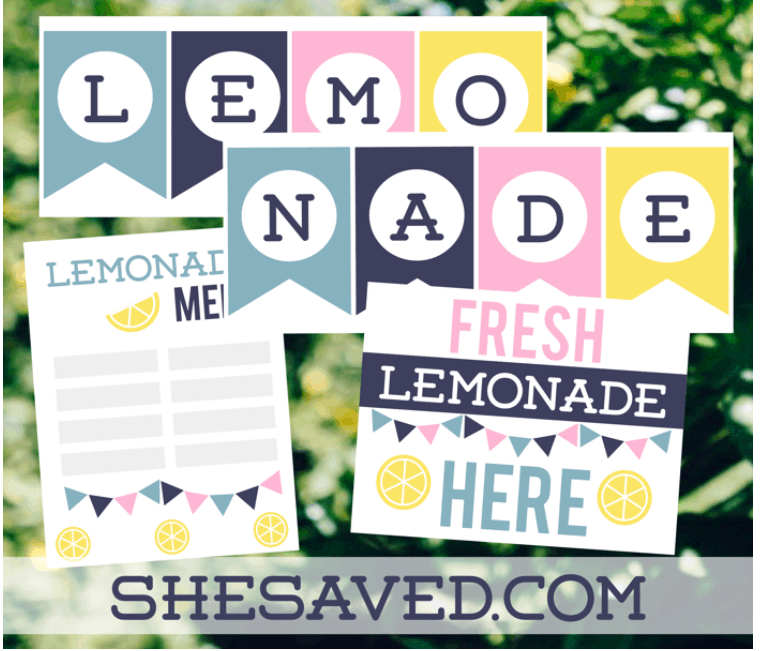 blue, teal, pink, and yellow pretend play lemonade stand printables with menu and banner