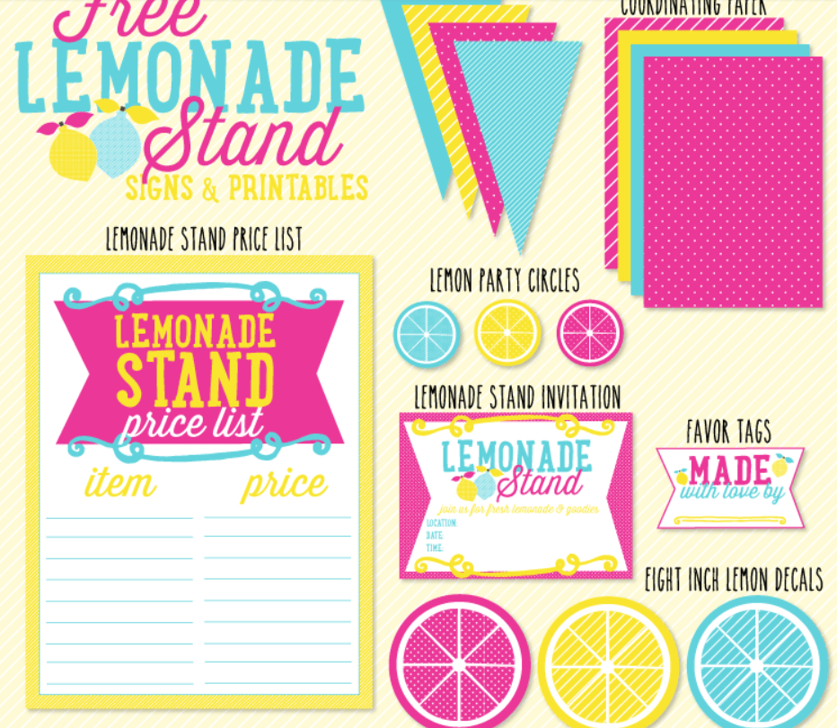 yellow, blue-teal, and magenta colored pretend play lemonade stand printables