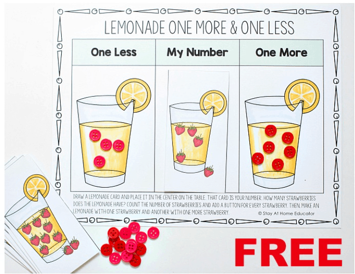 one more one less play mat with three boxes and a glass of lemonade in each, and red buttons