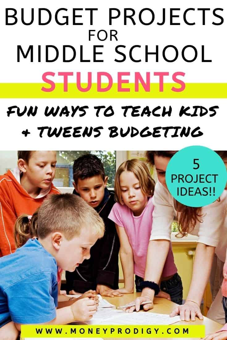 """group of middle school students working on project with teacher, text overlay"""" budget projects for middle school students"""""""