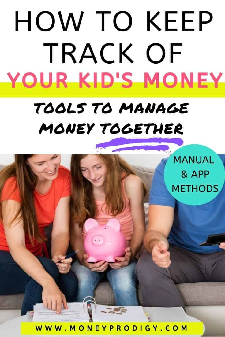 """tween with her mom and dad, and piggy bank, text overlay """"how to keep track of your kid's money - manage together"""""""